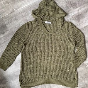 August Silk Green Knit Sweater Hoodie Top